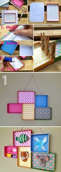 DIY Shoe Box Wall Art: Picture Tutorial from mommo design. DIY Shoe Box Wall Art: Picture Tutorial from mommo design. Diy Wand, Diy And Crafts, Crafts For Kids, Arts And Crafts, Room Crafts, Creative Crafts, Diy Projects To Try, Craft Projects, Mur Diy