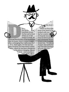 Rob Hodgson, Man with Newspaper // mid-century modern illustration Newspaper Drawing, Newspaper Collage, Fantasy Illustration, Graphic Illustration, Christian Robinson, Vintage Drawing, Typography Poster, Retro Art, Traditional Art