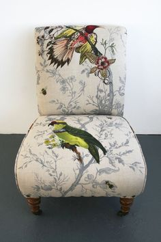 Birds and Bees nursing chair . Funky Chairs, Cool Chairs, Modern Chairs, Modern Armchair, Upcycled Furniture, Unique Furniture, Vintage Furniture, Furniture Stores, Cheap Furniture
