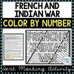 This French and Indian War Color by Number and Text Marking activity is the perfect way to bring life to the topic! Students read a non-fiction passage and search for answers while marking evidence from the text. Perfect reading comprehension activity. Topics include: French and Indian War, George Washington, William Pitt, Fort Necessity and Fort Duquesne. #frenchandindianwar #upperelementary #middleschool #frenchandindianwar #readingcomprehension Reading Comprehension Activities, Reading Passages, Citing Evidence, Emergency Sub Plans, Growth Mindset Posters, Upper Elementary Resources, Engage In Learning, Social Studies Activities, History Activities