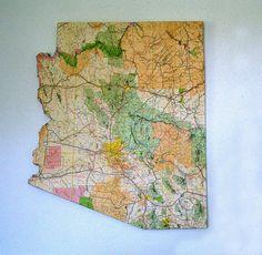 ARIZONA State Vintage Map Wall Art (Large size)