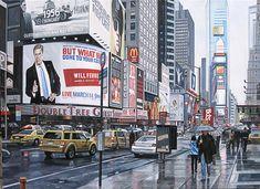 Schilderij stadsgezicht - Paul Vereecke  - Times Square New York City - Olieverf op doek - 100 x 75 cm. -