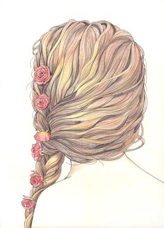 Fashion sketch illustration braided hair #drawing #style #fashion #watercolor #art
