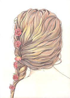 Fashion sketch illustration braided hair #drawing #style #fashion #watercolor #art