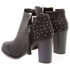 Adalynn Black Leather Look Studded Back Ankle Boot ($70) ❤ liked on Polyvore