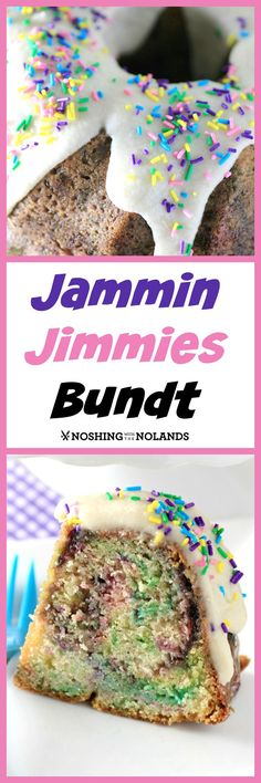 A delicious sour cream bundt cake swirled with blackberry jam and colored jimmies, topped with glaze and more sprinkles of color. A festive birthday cake!