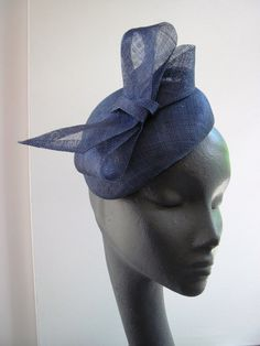 Womens Navy Sinamay Cocktail Hat Wedding Formal by MindYourBonce, £55.00