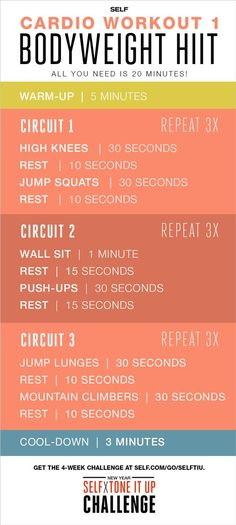 Cardio Workout Bodyweight HIIT All you need is 20 minutes. Cardio Workout Bodyweight HIIT All you need is 20 minutes. Fitness Workouts, Fitness Tips, Fitness Motivation, Health Fitness, Body Workouts, Hiit Workouts For Beginners, Body Weight Exercises, Body Weight Hiit Workout, Body Weight Circuit