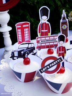 London inspired UK British themed party ideas with DIY decorations and a tea party set up with printables