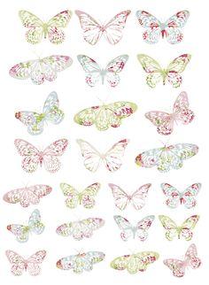Free Printable Pretty Pastel Vintage Butterflies, Birds, Butterflies & Garden Crafts (PDF Printable Here: http://caronedmunds.files.wordpress.com/2011/08/my-everything-nothing-vintage-butterflies.pdf)