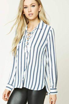 Lace-Up Striped Shirt