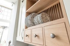 Wooden spice drawers and plate rack in Victorian kitchen. Sheffield Sustainable…