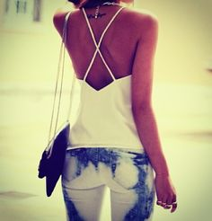 Boho summer chic:  dyed white and blue skinnies and a white top.