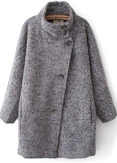 Grey Long Sleeve Stand Collar Loose Coat - Sheinside.com
