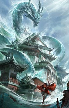 ArtStation - Flood, Sandara Tang Mythical Creatures Art, Mythological Creatures, Magical Creatures, Dark Fantasy, Fantasy World, Monster Art, Cool Dragons, Dragon Artwork, Water Dragon