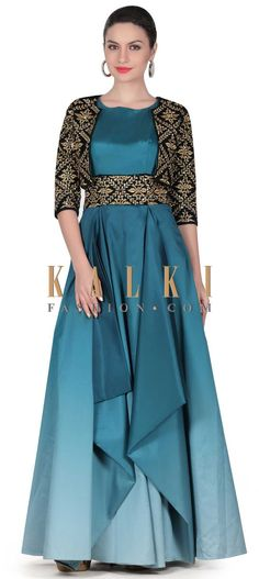 Buy this Shaded gown in blue with embroidered jacket only on Kalki