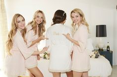 Custom embroidered Bride robe for the bride-to-be! Blush bridesmaid robes for your girls! Shop at loveophelia.com
