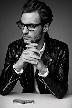 Mens Leather Jacket & Black Glasses as per face shape⋆ Men's Fashion Blog - TheUnstitchd.com