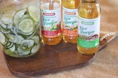 Refrigerator Pickles with Rice Vinegar 8 cups sliced cucumbers 1 onion sliced 1 teaspoons salt 2 cups sugar cup white vinegar cup Nakano Rice Vinegar- You can also use a Nakano Seasoned Rice Vinegar to add a different flavor 1 teaspoon mustard seed Cucumber Uses, Cucumber Recipes, Advocate Recipes, Flavored Rice, Refrigerator Pickles, Homemade Pickles, Pickling Cucumbers, Sweet Pickles, White Vinegar
