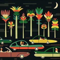 Murmansk based Russian illustrator Iv Orlov has an amazing portfolio, filled with vintage/retro styled illustrations. Gravure Illustration, Art Et Illustration, Illustration Design Graphique, Art Graphique, City Poster, Ouvrages D'art, Web Design, Happy Design, Retro Design
