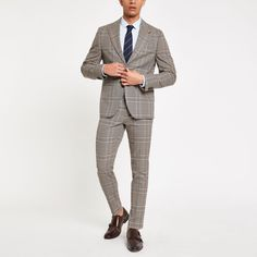 Shop our new Brown heritage check skinny fit suit trouser at River Island today. Trouser Suits, Trousers, Pants, Skinny Fit Suits, Checked Suit, Short Legs, Swim Shorts, Welt Pocket, Woven Fabric