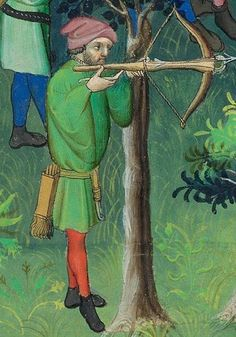 Another square bolt quiver from the French document Livre de la chasse fol 100v
