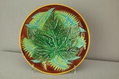 GEORGE JONES majolica ferns and leaf plate