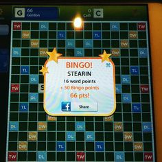 I got 50 bonus points for getting all my letters down at Scrabble - @caterinamilligan is sick!