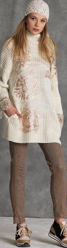 @roressclothes clothing ideas #women fashion white knit sweater, brown jeans