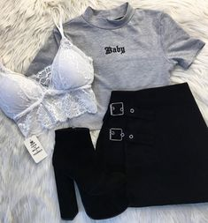 Aesthetic # ästhetische Mode Source by shx… – Outfits Teen Fashion Outfits, Edgy Outfits, Swag Outfits, Mode Outfits, Retro Outfits, Grunge Outfits, Cute Casual Outfits, Outfits For Teens, Fall Outfits