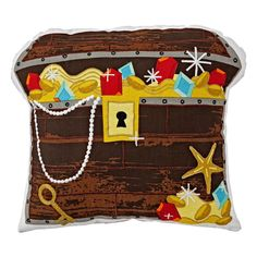 Shop Treasure Chest Throw Pillow. Yo ho ho, this treasure chest throw pillow is the perfect complement to any nautical or pirate-themed bedroom.