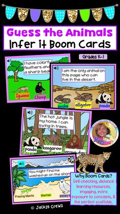 This BOOM deck has 15 slides with habitat scenes and sentences from the perspective of animals to cover both literacy and life science standards. Each slide has audio especially for English learners and SPED students. #kindergarten, #grade1, #Englishlearners, #SPED, #habitats, #Boomcards, #Jackiecrews, #Distancelearning, #inference, #primary, #earlychildhood, #esl Primary Science, Primary Education, One Card Reading, Learning Resources, Classroom Resources, Science Standards, First Grade, Third Grade, English Language Learners