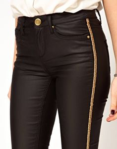 Enlarge ASOS Waxed Skinny Jeans with Chain Side Embellishment