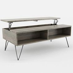 Simpli Home Hunter SOLID MANGO WOOD and Metal 48 inch Wide Rectangle Industrial Contemporary Lift Top Coffee Table in... Mango Wood Coffee Table, Coffee Table Grey, Lift Top Coffee Table, Coffee Table With Storage, Coffee Tables, Thing 1, Buy Wood, Wood And Metal, Family Room