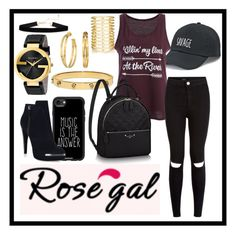 """Rosegal"" by jinokavian ❤ liked on Polyvore featuring Casetify, SO, New Look, Tory Burch, Hervé Léger, Gucci and Jules Smith"