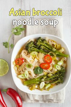 Asian broccoli noodle soup - a slurpy noodle soup with Tenderstem broccoli, leeks and rice noodles. Such a tasty vegan broth! Vegan Noodles Recipes, Veggie Recipes Healthy, Curry Recipes, Meatless Recipes, Healthy Food, Vegan Recipes, Vegan Stew, Vegan Soups, Chowder Recipes