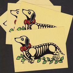Day of the Dead Postcards Dog DACHSHUND Skeleton by illustratedink