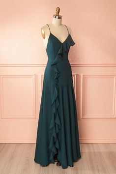 Amerie Green Open Back Flared Gown with Ruffle | Boutique 1861