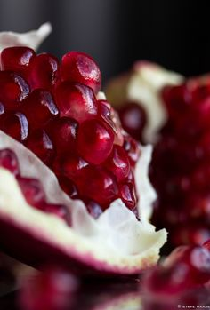 Pomegranate. Rich in Iron, good source of vitamin C. The juice helps to prevent and treat Acne and is an amazing skin anti-aging.