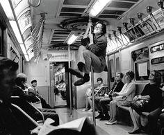 R Crumb on the Subway. New York City. 1968 by Harry Benson.