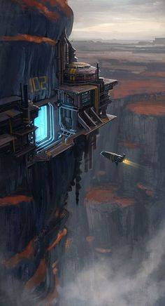 """Cliff Port"" by #DaveJones. #sciencefiction #scifi #spaceship"