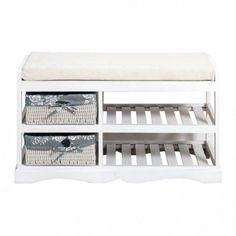 Modern Storage Bench Organizer Furniture Rack Wooden Seat Pillow White Baskets #ModernStorageBench #Modern