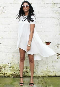 Short Sleeve Swing T-Shirt Dress with Dipped Back Hem in Soft Cream