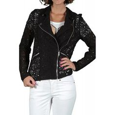 Sacou Dama VERO MODA Lace Biker Black Biker, Leather Jacket, Lace, Fashion, Studded Leather Jacket, Moda, Leather Jackets, Fashion Styles, Racing