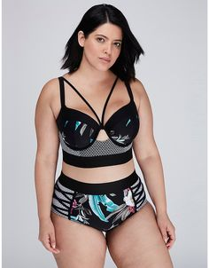 Mixed-Print Longline Bikini Top with Built-In Balconette Bra | Lane Bryant