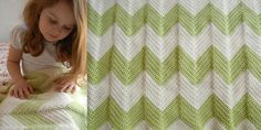 chevron patterned crochet baby blanket with a straight edge. easy to make!