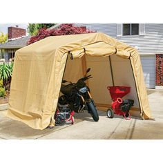 10 Ft X 10 Ft Portable Shed In 2020 Portable Sheds Portable Storage Sheds Portable Carport