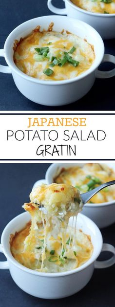 Japanese Potato Salad Gratin! Creamy Japanese potato salad seasoned with Japanese mayonnaise and rice wine vinegar, topped with cheddar and mozzarella cheese. A great Asian fusion recipe version of the traditional potato gratin.