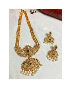 Long Haram Necklace Set by Sruthis ~ South India Jewels Necklace Set, Gold Necklace, Jewelry Necklaces, Jewellery, South India, Indian Jewelry, Bridal Jewelry, Jewelry Collection, Antique Jewelry