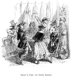 "Vintage Printables: Copyright free art! ""When the cat's away, the mice will play"" - Grandville (1845)"